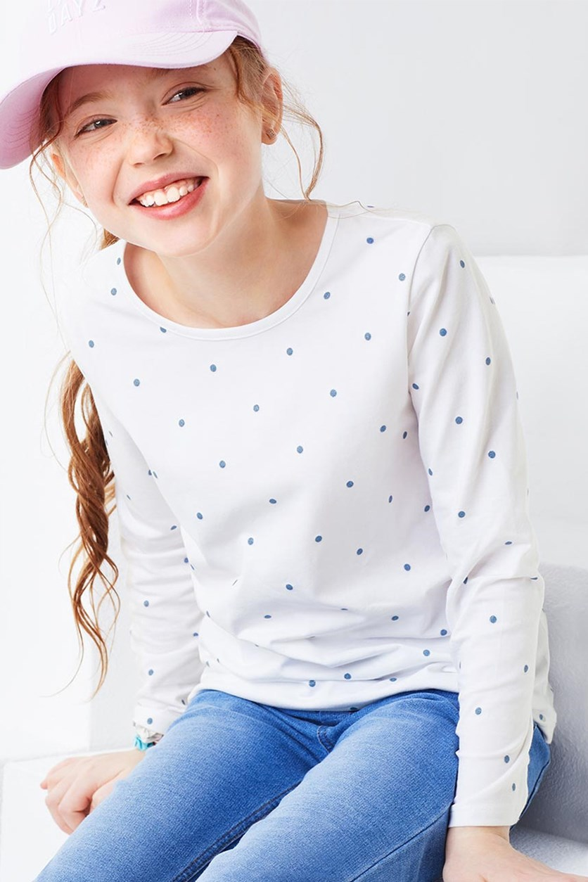 Girls Long Sleeve Shirt, White/Blue
