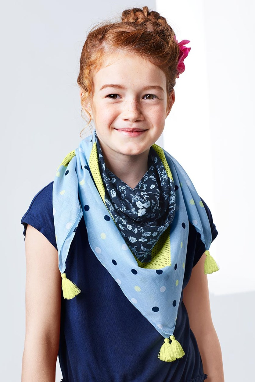 Girl Scarf, Blue/Yellow