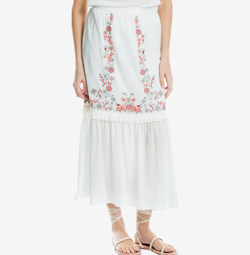 Women Cotton Embroidered Maxi Skirt, Cream