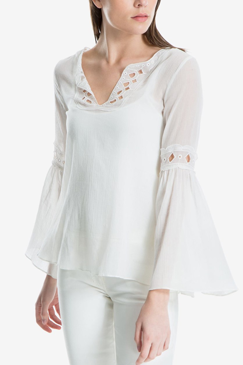 Women Cotton Eyelet Bell-Sleeve Blouse, Cream