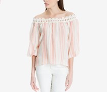 Max Studio London Striped Off-The-Shoulder Top, Cream/Pink