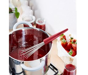 Functional Whisk for Whipping, Red/Silver Colored