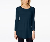 Two by Vince Camuto Women's Crew neck Mixed Media Tunic, Navy