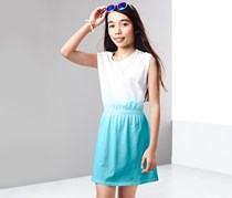 Girls Dress, White/Turquoise