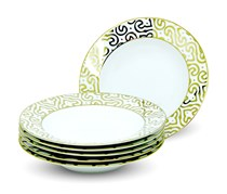 Rosanna Luxe Moderne Set Of 6 Soup Plates, White/Gold