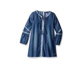 Kensie Girls' Long Sleeve Denim Dress, Medium Blue