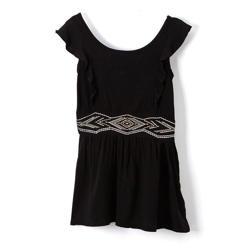Kids Girl Embroidered Dress, Black