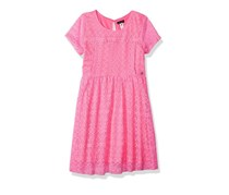 Kensie Big Girls' Lace Dress, Neon Pink