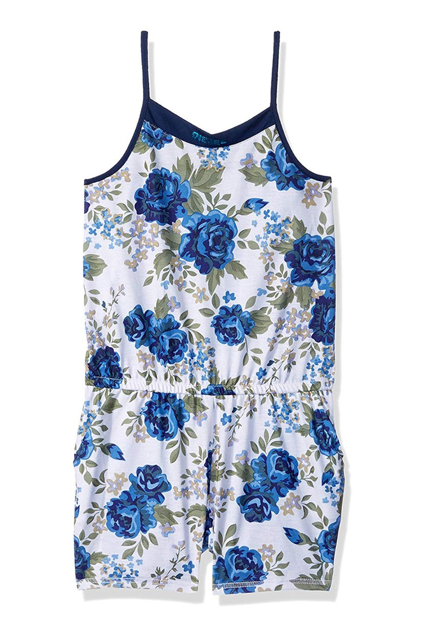 Sleepwear Girls Big Nightgown Romper, Blue Floral