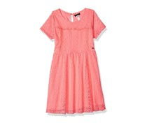 Kensie Little Girls' Short Sleeve Lace Dress, Neon Light Coral