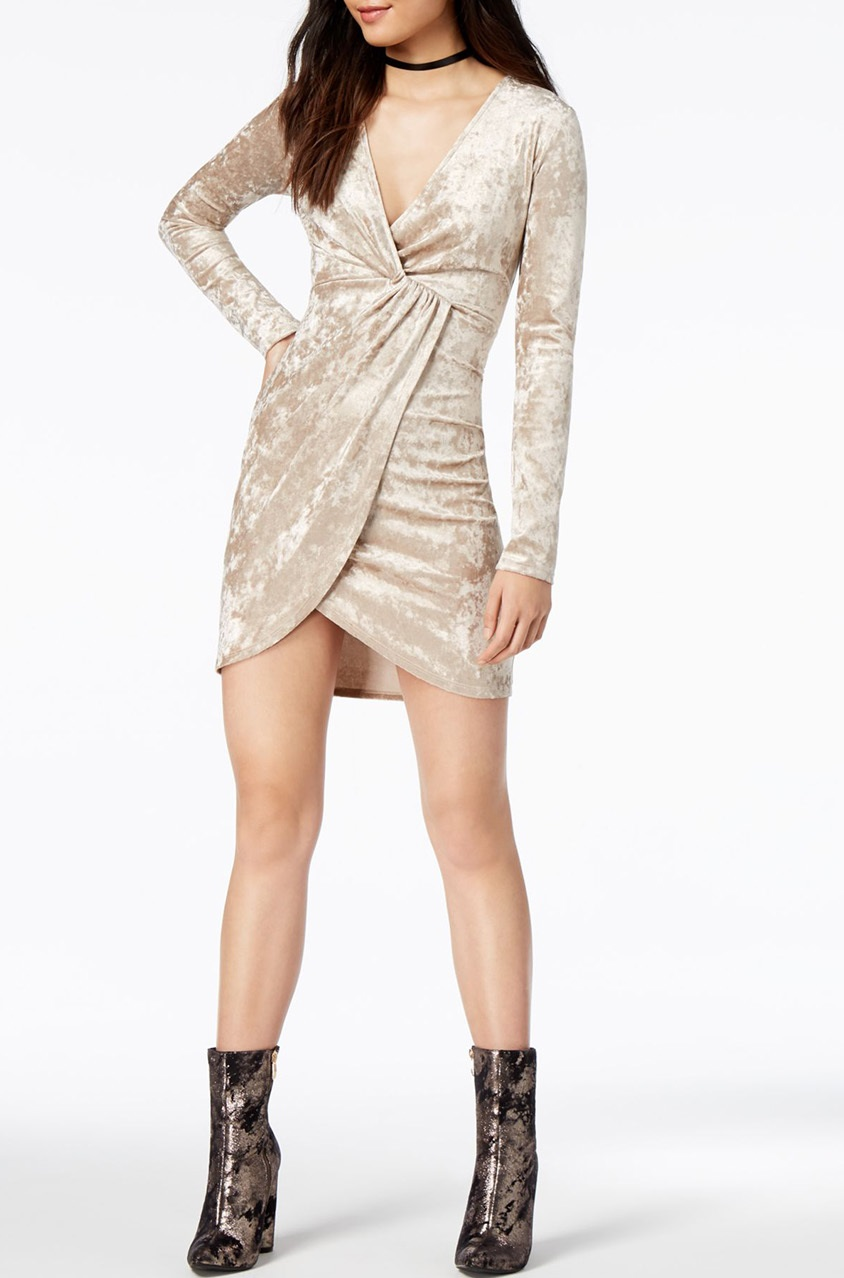 722256d7c Shop ASTR The Label Women Mandy Faux-Wrap Dress, Pale Gold for Women  Clothing in United Arab Emirates - Brands For Less