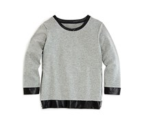 Aqua Girls' Faux Leather Trimmed French Terry Sweatshirt, Heather Grey