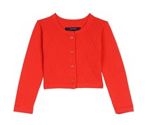 Nautica Girl's Cropped Cardigan, Red