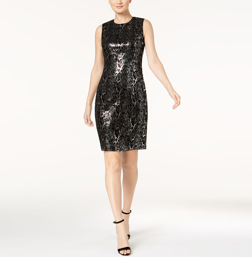 Petite Velvet Sequined Animal Dress, Black/Silver