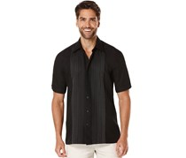 Cubavera Men's Short Sleeve Ombre Embroidered Front Panels Woven Shirt, Jet Black