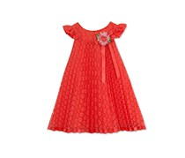 Rare Editions Pleated Lace Trapeze Dress, Coral