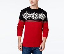 Weatherproof Men's Crewneck Snowflake Knit Sweater, Red
