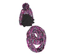 Capeli Girls Winter 3pc Set Hat Gloves and Scarf, Pink/Black/Purple Combo
