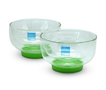 Topchoice 2 Dessert Bowls With Silicone Base, White/Green