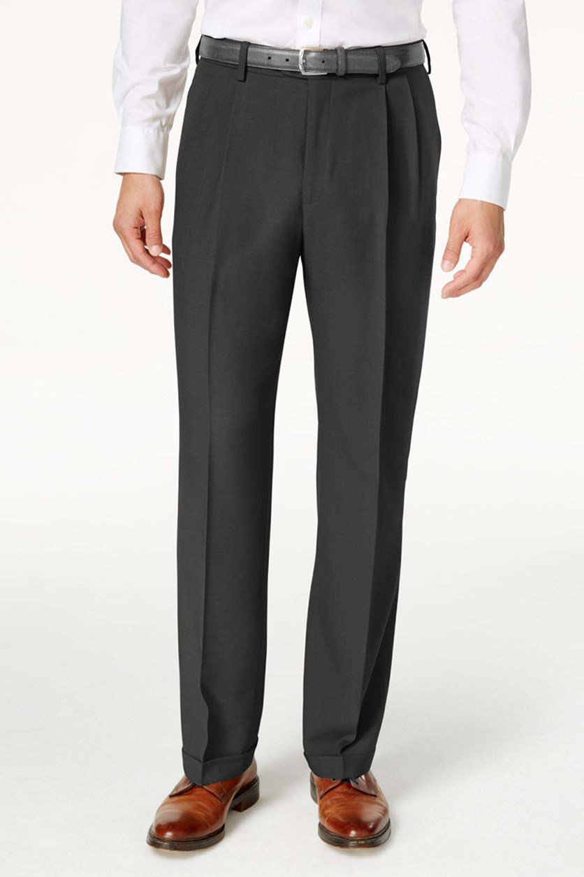 Mens Classic-Fit Repreve Stria Pants, Charcoal