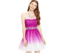 B.darlin Juniors' Strapless Ombre Dress, Purple