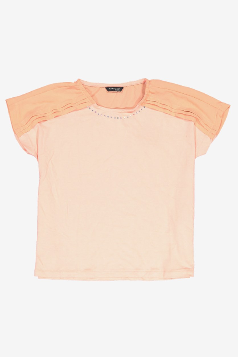 Rhinestone Neck T-Shirt, Peach