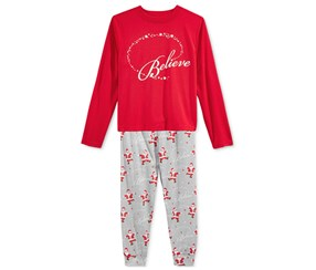 Family Pajamas Boy's or Girl's Believe Parade Set, Red