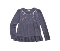 Monteau Girl's Rhinestone Peplum Top, Grey