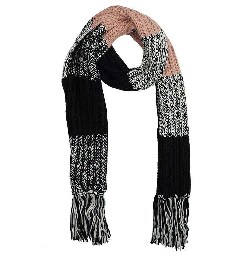 Women's Cable Knit Scarf, Black/White