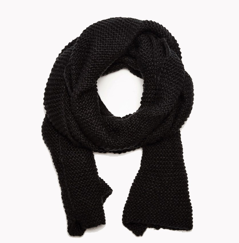 Women's Textured Muffler Scarf, Black