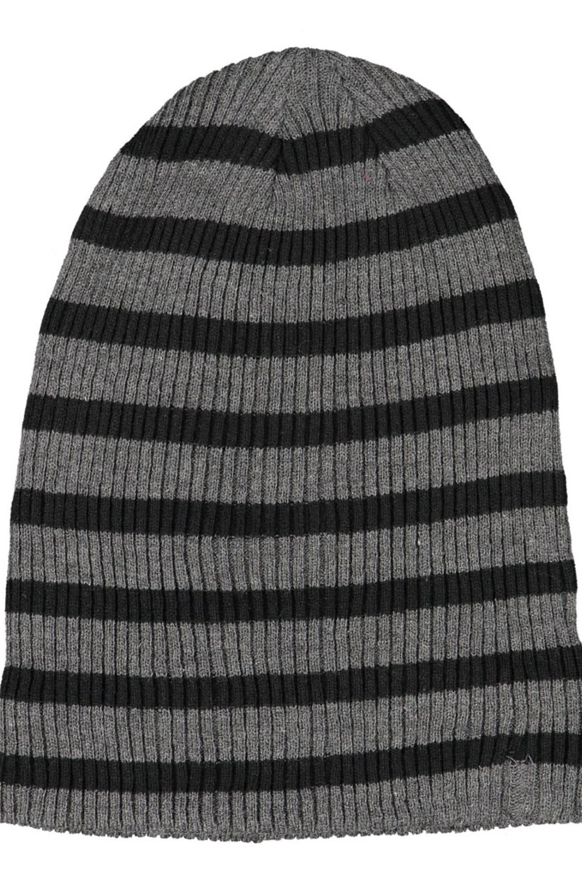 Men's Stripe Beanie, Black/Grey