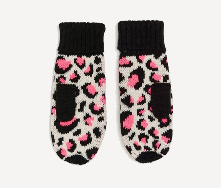 Women's Printed Gloves, Black/Pink
