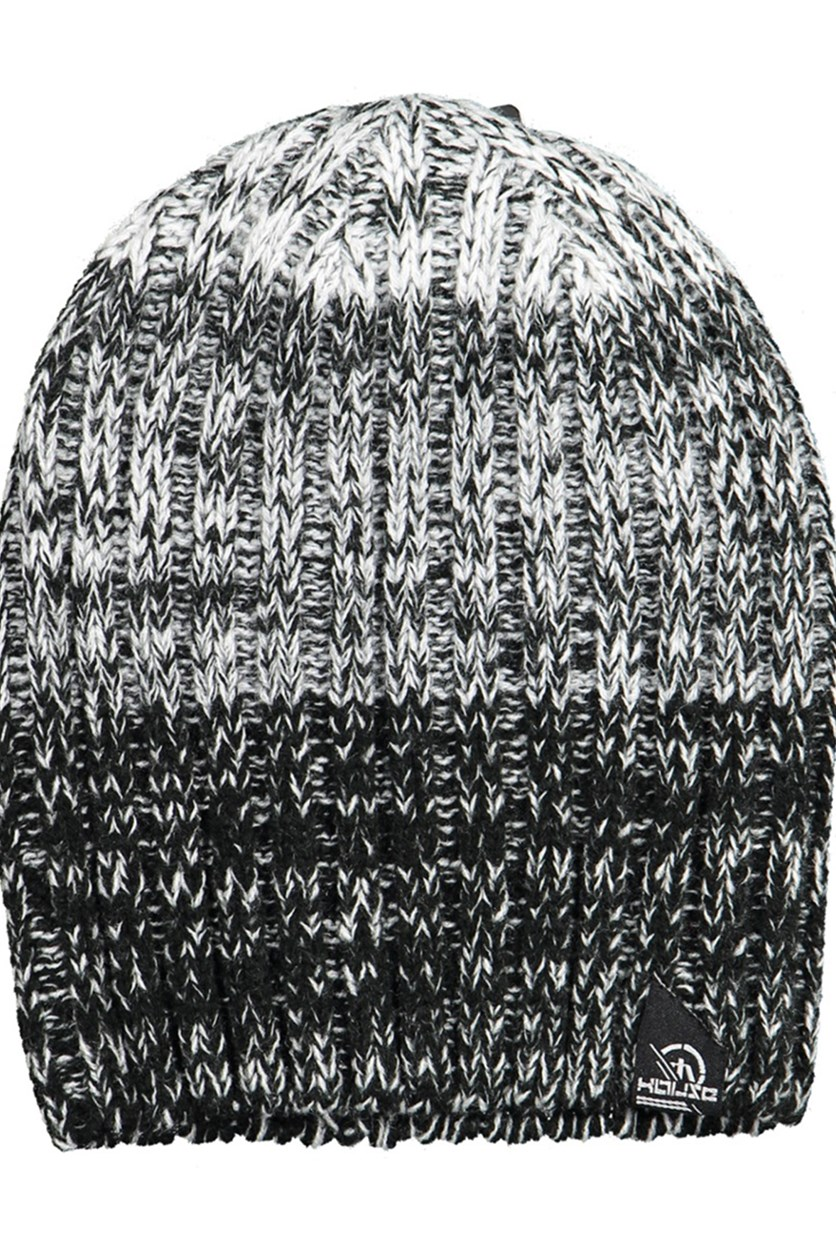 Men's Space Dye Crochet Beanie, Black/White