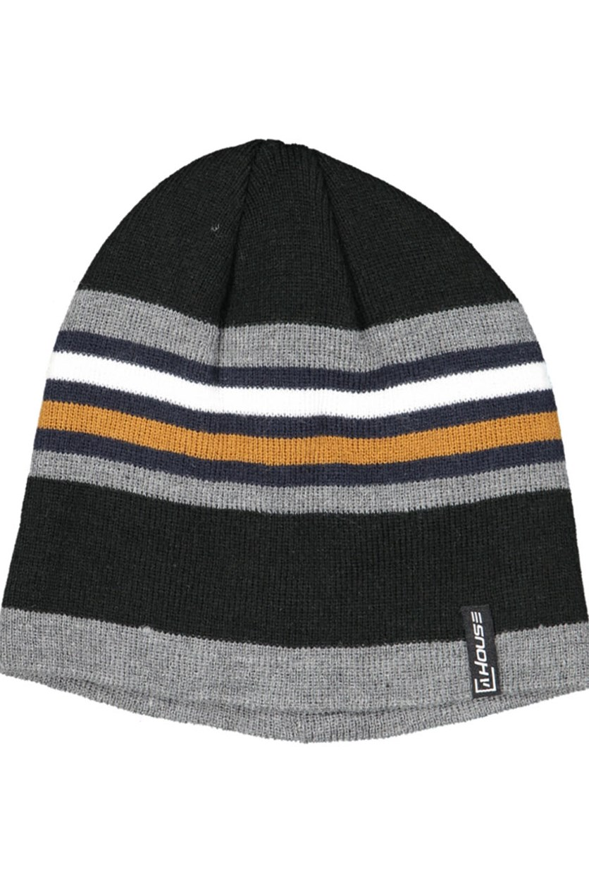Men's Stripe Beanie, Black