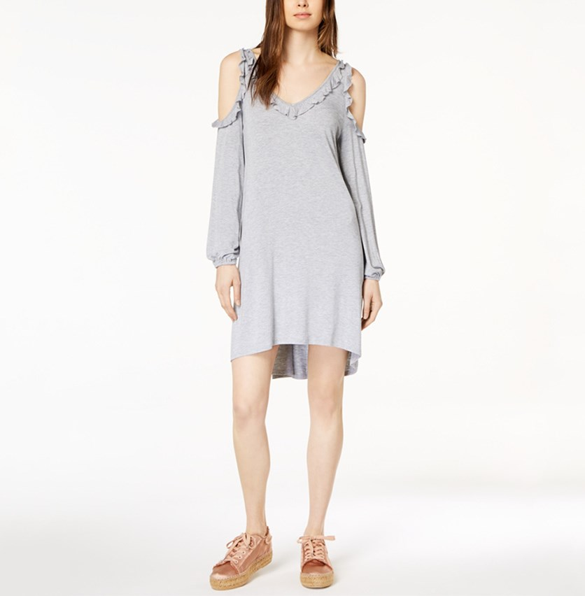 Women Ruffled Cold-Shoulder Dress, Heather Grey