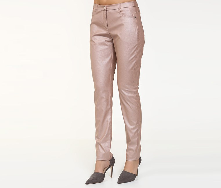 Womens Metallic Pants, Pale Blush