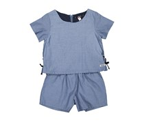 Kensie Kids Girls Pop Over Rompers, Med Blue