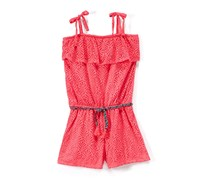 Kensie Kids Girls Lace Rompers with Braided Belt, Neon Pink