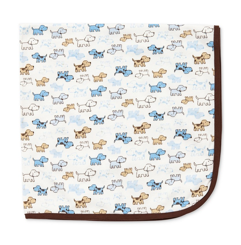 Infant Boys Cute Puppy Blanket, White Print