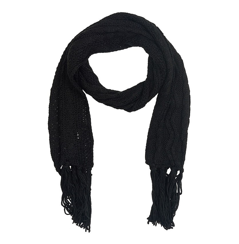 Women's Textured Knit Scarf, Black