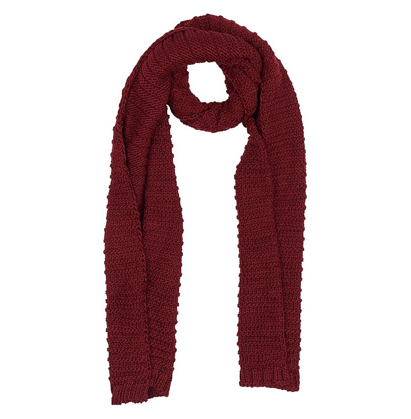 Women's Knitted Scarf. Burgundy