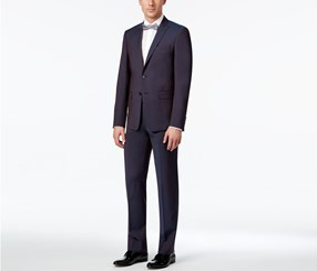 Calvin Klein Men's Extra Slim-Fit Lapel Suit, Maroon Peak