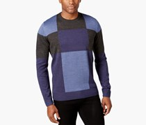 Tricots St Raphael Mens Patchwork Colorblock Pullover Sweater, Gray/Navy
