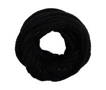 House Women's Sequins Knitted Scarf, Black