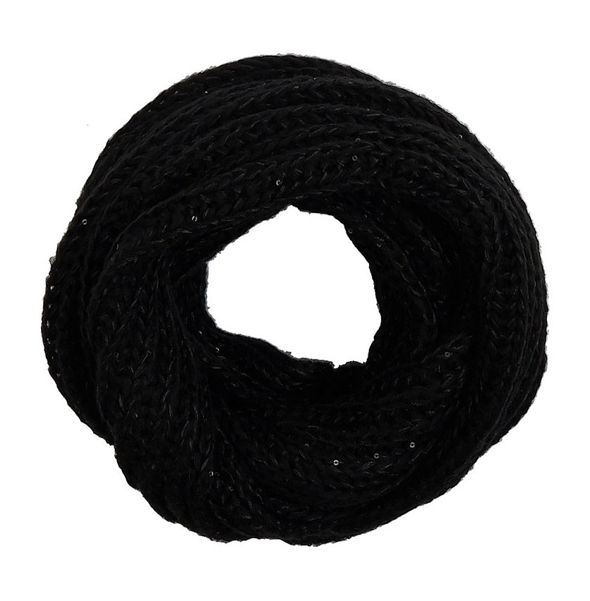 Women's Sequins Knitted Scarf, Black