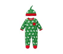 Offspring Baby Boys' Holiday Reindeer Footie & Hat Set, Green