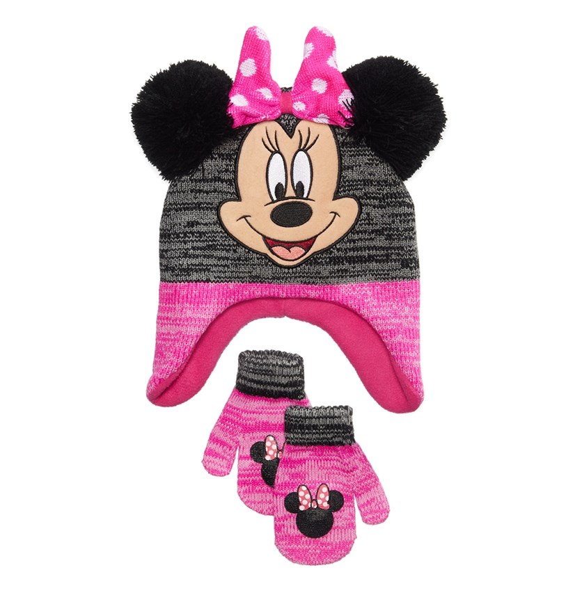 Minnie Mouse 2-Pc. Hat & Mittens Set, Pink