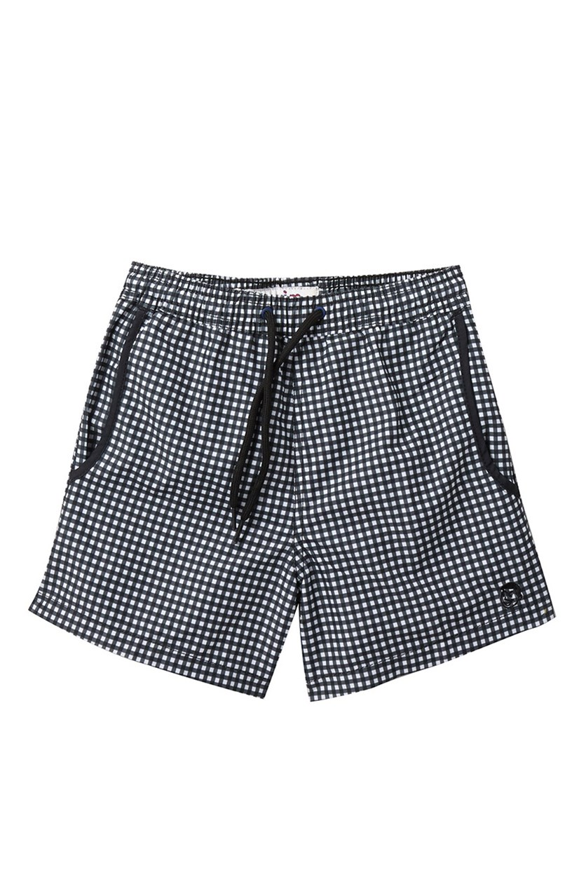 Mr. Swim Gingham Print Swim Trunks, Black