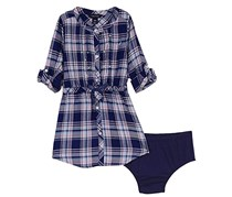 Nautica Baby Girl's Rayon Plaid Shirt Dress, Navy/Pink