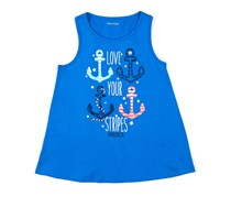 Nautica Little Girls Love Your Stripes Tank, Blue
